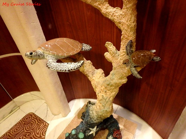 sea turtle sculpture on Ruby Princess