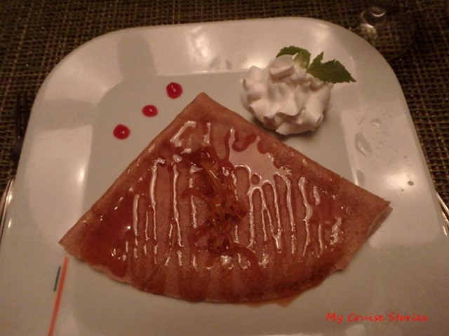dessert crepe from Celebrity's bistro