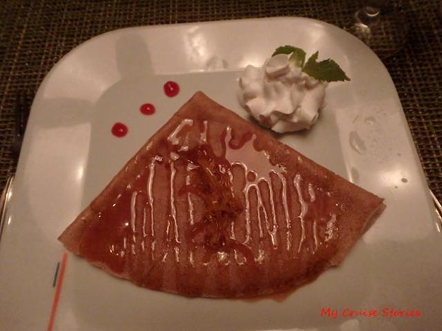 dessert crepe from Celebrity's bistro