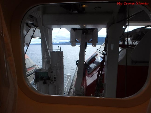 view from behind the lifeboats