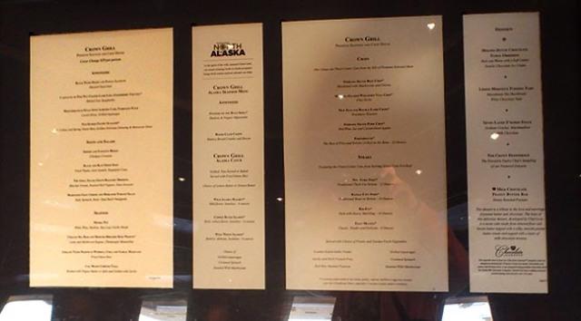 cruise ship restraunt menu