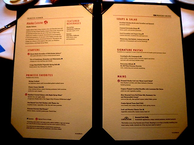 princess dining room menu