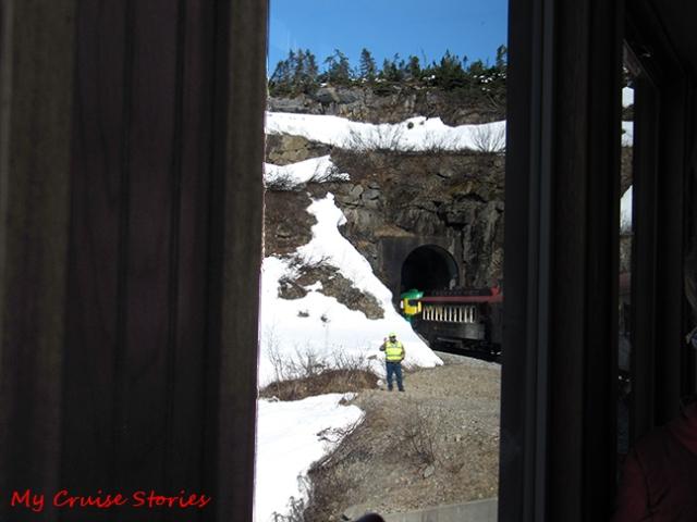 tunnel through the mountain on the way to White Pass