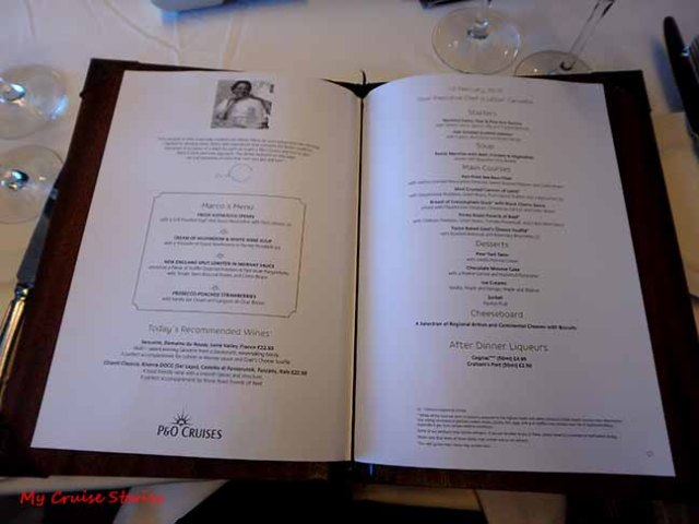 fancy cruise ship dining room menu