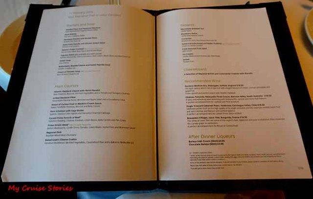Arcadia dinner menu