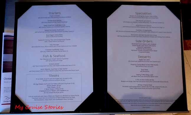 cruise ship premium menu