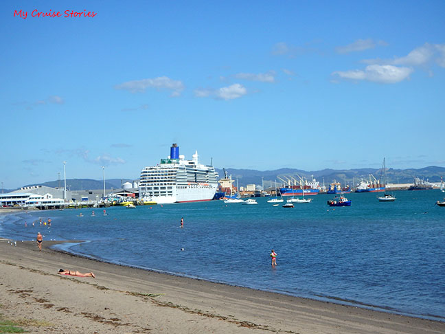 cruise ship from the beach at Mount Maunganui