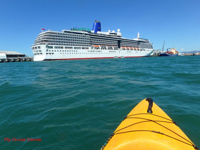 view of cruise ship from kayak