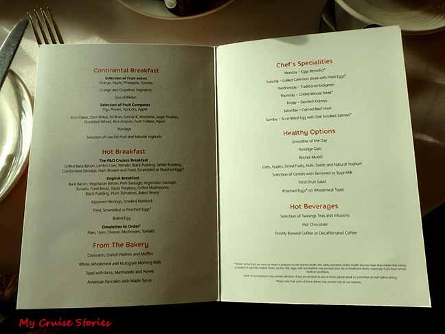 cruise ship menu