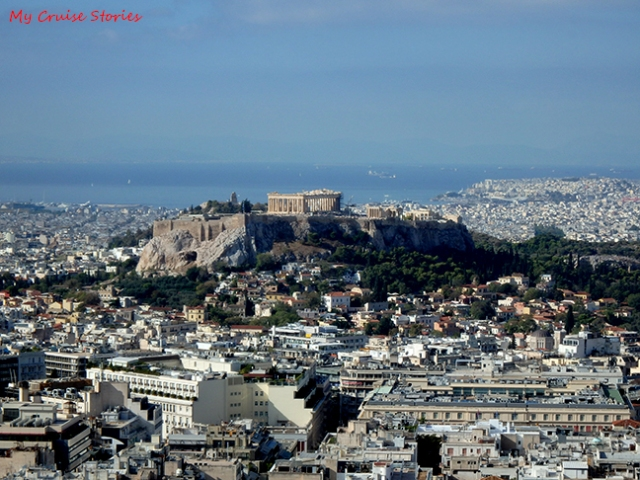 Acropolis looms high over Athens with the Parthenon visible for miles