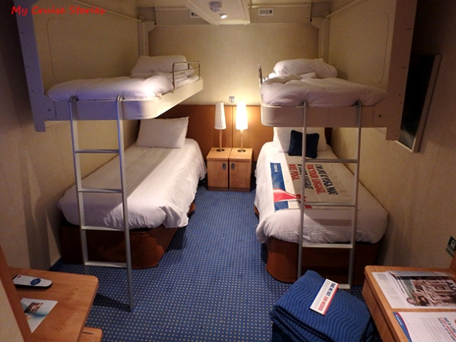 inside cabin with bunks