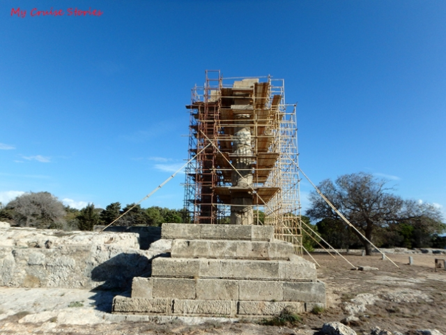 ruins in scaffolding
