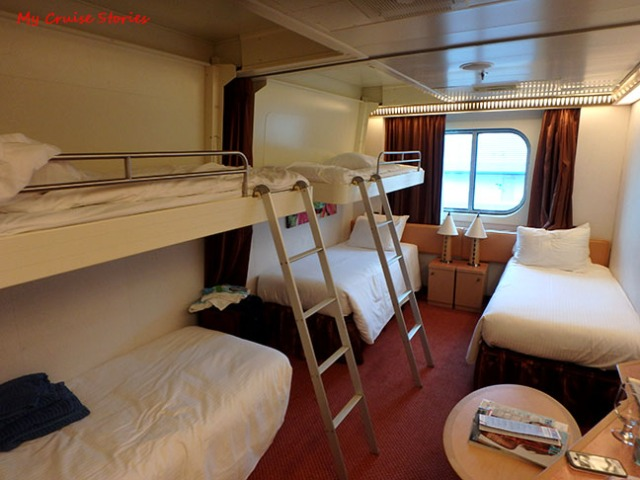 in-line bunks in 5-person cruise ship cabin