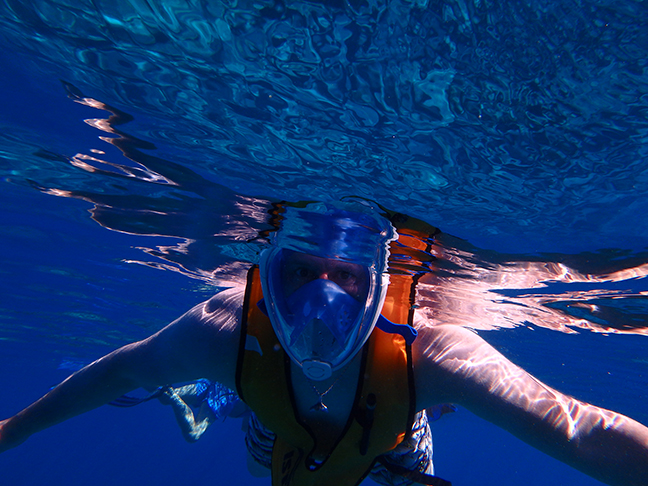 snorkeling in a full face mask