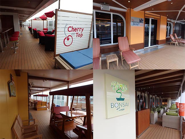 outdoor seating areas on a ship