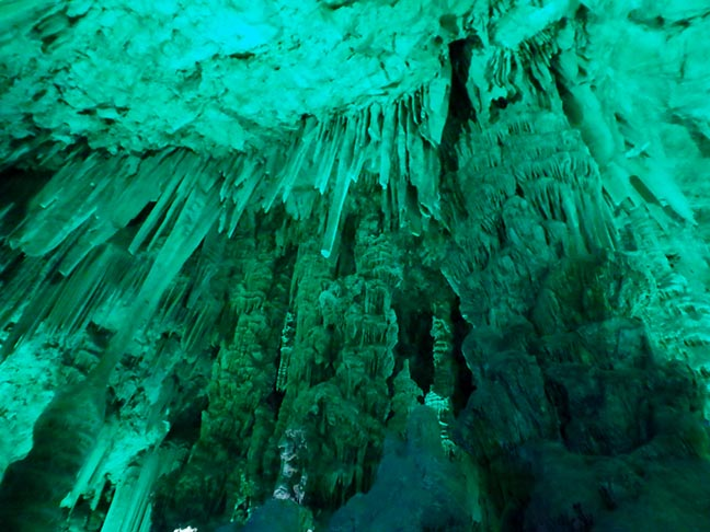 colored light on cave formations