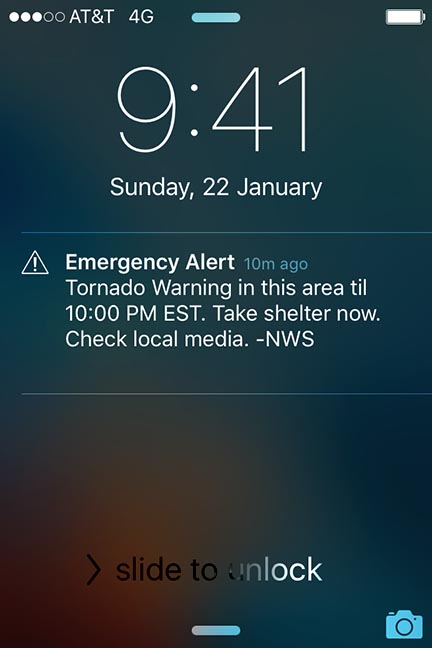tornado warning from a cell phone