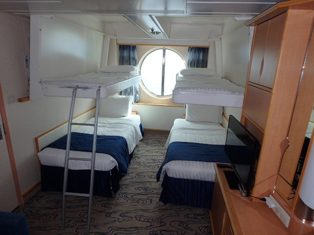 cruise ship cabin with bunks