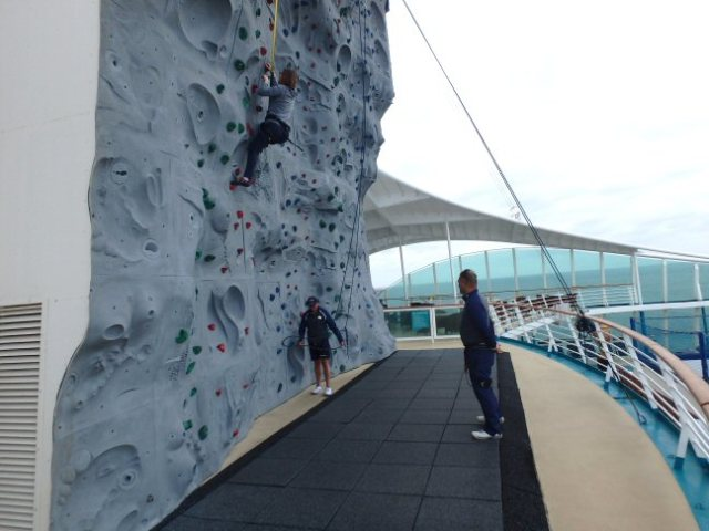 cruise ship rock climbing wall