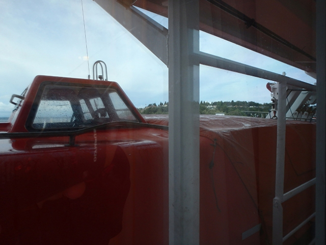 window behind a lifeboat