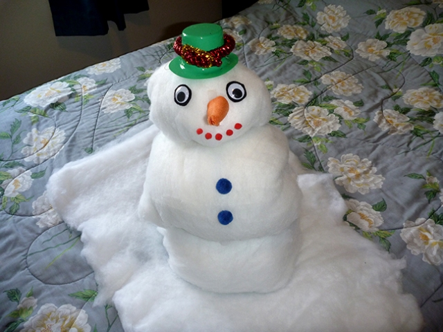 snowman made from towels