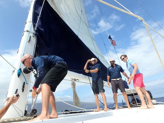 putting up Trilogy's sails