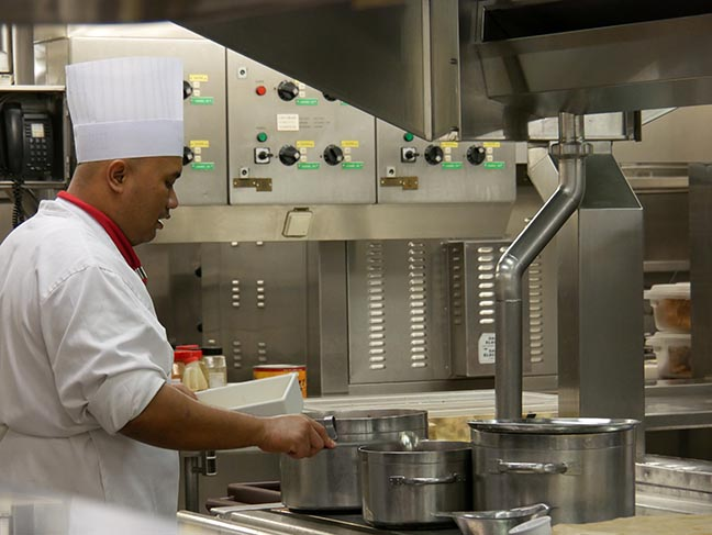 galley on a cruise ship