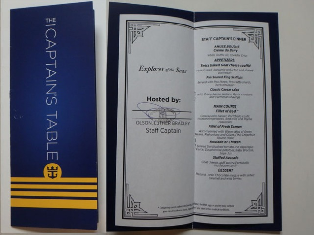 Captain's table menu