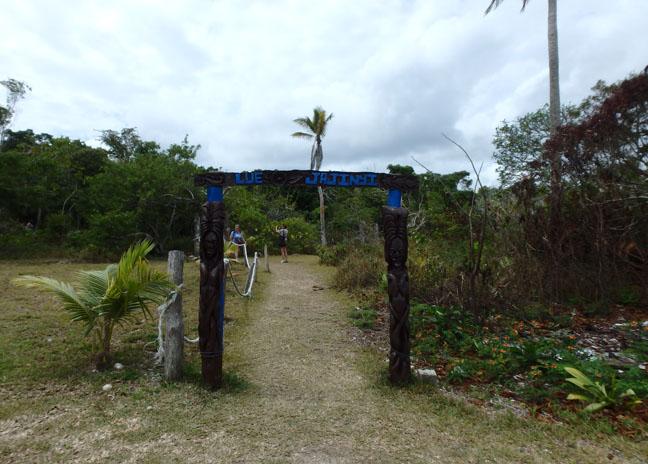 cave trail sign Lifou, New Caledonia