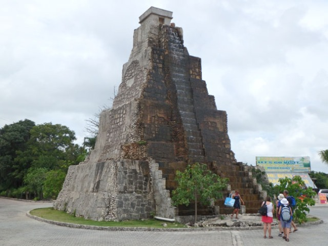 pyramid fountain in Costa Maya