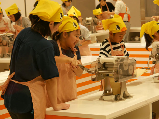 making ramen at the Cup Noodle Museum