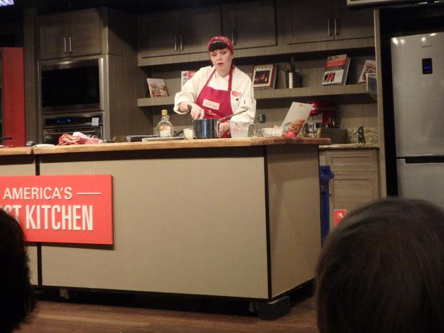 test kitchen cooking demonstration