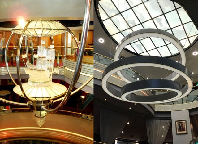 old and new centerpieces to the Westerdam's atrium