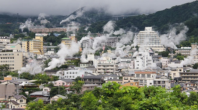 hot springs steaming in Beppu