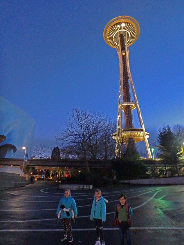 Seattle's space needle lights up at night